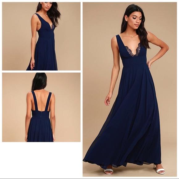Lulu\'s Dresses | True Bliss Navy Blue Maxi Dress | Poshmark